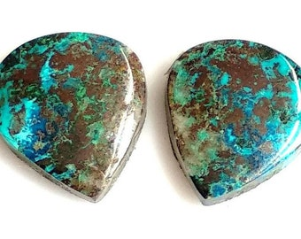 Azurite Pear Pair Cabochon,Size- 14x12, MM, Natural Azurite, AAA,Quality  Loose Gemstone, Smooth Cabochons.