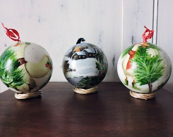 3 hand painted CHRISTMAS TREE ORNAMENTS, Christmas ornaments, gifts