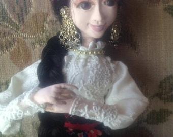 Little Gipsy handmade art doll Laisves dolls