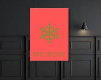 Snowflake Printable Merry Christmas Wall Art Print, Printable Christmas Art,, Instant Download Digital Download Art Printable Art Christmas