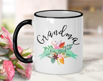 Grandma Established Date Ribbon Mug // Pregnancy Announcement // Grandma Gift