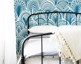 Blue Bohemian Removable Wallpaper - Abstract Wallpaper - Blue Wall Mural - Modern - Peel and stick - Wall covering -  Wall Decal #177