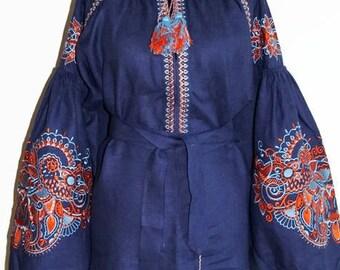 Folk Blouse Casual Vyshyvanka Ukrainian Shirt Embroidered shirts Vishivanka Ukrainian Clothing Boho Blouse Custom Embroidery Bohemian Style