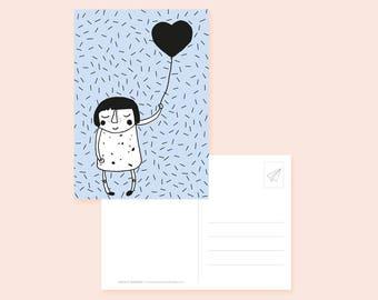 Postcard heart balloon/Self love