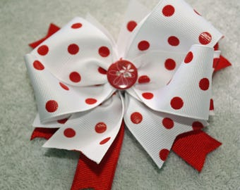 Red and White Hair Bow, Infant, Toddler, Girl Hair Bow, Alligator Clip