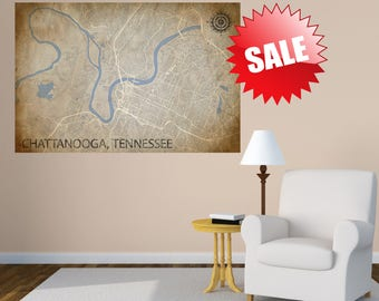 CHATTANOOGA TN Vintage map City Horizontal Large Wall Art Vintage map Canvas Print Tennessee Chattanooga TN Panoramic poster antique old map