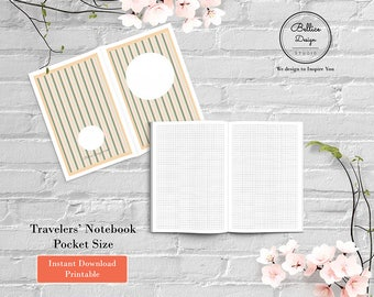 Field Notes Planner, Printable Inserts, Grid Notebook, Refillable Pocket Notebook, Pocket Insert, Undated Pocket TN Inserts, Blank Planner