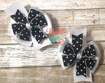 Polka Dots - Stacked Pinwheel Bow - Pigtail Set - Piggy - Black - White - Spots - Clip - Barrette