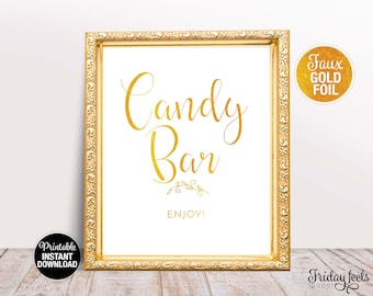 Candy Bar Wedding Sign, Printable Wedding Sign Template, Gold Wedding Sign, Instant Download, WS02
