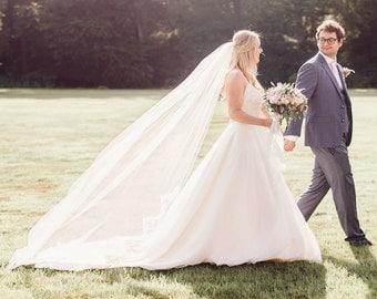 Chapel length demi lace edge bridal veil - Grace