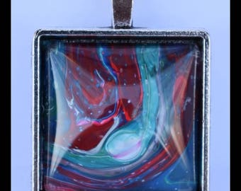 Square Silver-Plated Pendant: Red, White, Blue, Pink Swirls 1 in. x 1 in.