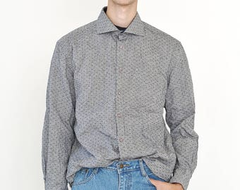 VINTAGE Grey Dotted Long Sleeve Button Downs Retro Shirt