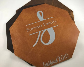 Personalized Family Name Mousepad // Leather Mousepad// Personalized Leather Mousepad // Customized Leather Mousepad