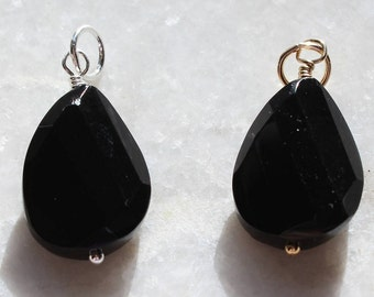 Black Onyx Wire Wrapped Pendant/Dangle Faceted Drop Gold Fill or Sterling Silver Xmas gift, necklace add on, necklace dangle, necklace drop