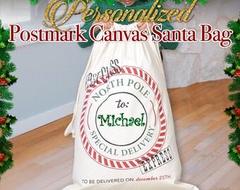 Christmas Sack, Personalized Holiday Gift, Christmas Gifts, Canvas Tote, Santa Bag with name, Holiday Sacks, Holiday Bags, Santa Personalize