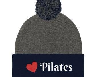 Pom Pom- beanie Cap-pilates-pilates cap-pilates hat-love pilates-pilates teacher-pilates instructor-pilates reformer-pilates shirt-pilates c