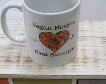 Unique VEGAN HEARTS...beat stronger - vegan mug, by Molly M Creations, vegan mugs, vegan gift, vegan Christmas, vegan Christmas ideas, mugs