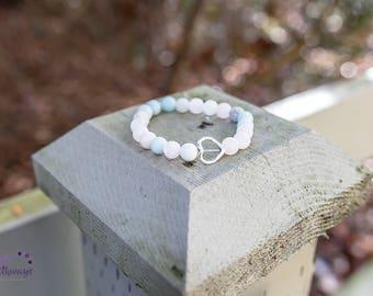 Amazonite Love Lava bead bracelet