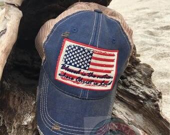 Vintage,Flag, American, Patriotic, United States, Christ, Lord, Christian, Trucker Hat,Savannah, Monogram