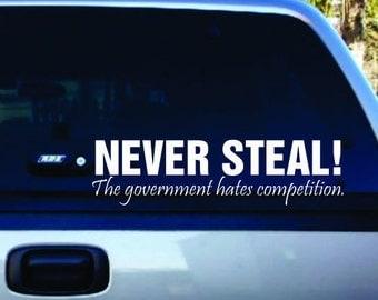 never steel decal, car sticker, vinyl lettering, white