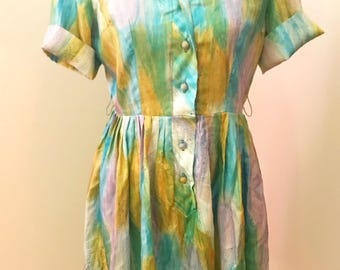 LUMINOUS Watercolor Vintage Shirtdress, 1950s/Early 1960s DREAMY Day Dress