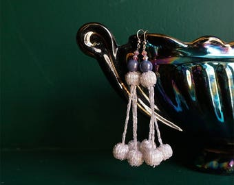 Shimmering Triple Ball Drop Earrings in White and Blue
