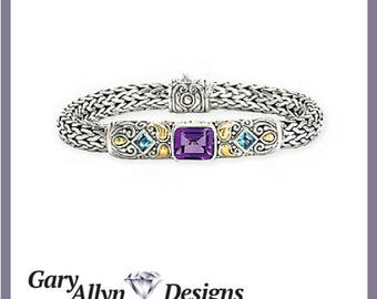 Gold and Sterling Silver Bracelet with Amethyst and Blue Topaz