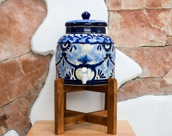 Handmade Talavera water dispenser with wooden base