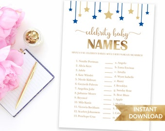 Navy blue Celebrity baby names baby shower game | Twinkle twinkle little star gold and blue | Printable shower game | Baby boy blue theme
