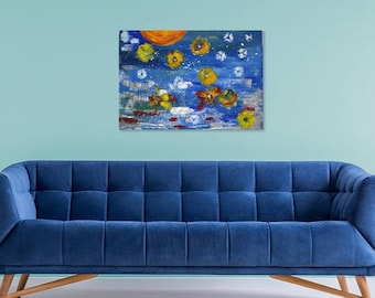 Original Acrylic Abstract Painting on Canvas Modern Wall Art 50x70 cm - Alien Invasion
