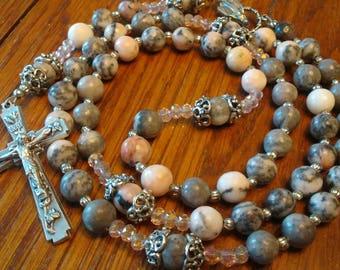 Catholic Rosary - Pink and Grey Natural Jasper Bead, Semi-precious Gemstone, Heirloom Quality, 5 Decade Rosary, Flex Wire, First Communion