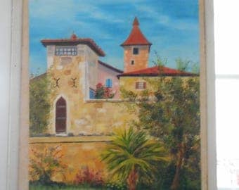 Oil painting of a Gers village in France, Sauvetat - Original oil painting of a village in France La Sauvetat - stone houses Gers