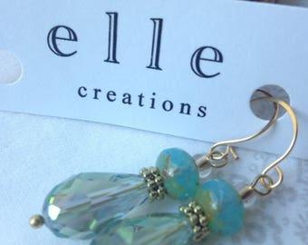 Teal/Aqua Czech glass beads, gold wire drop earrings.