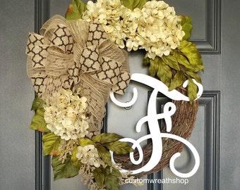 Everyday Wreath,Hydrangea Wreath,Year Round Wreath,Front Door Wreath,Summer  Wreath