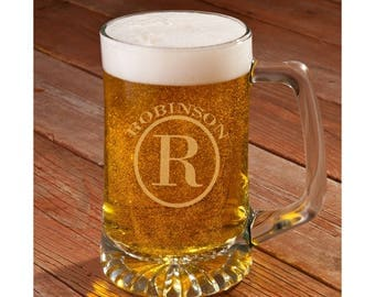 Set of SIX (6) Personalized 25 oz Monogram Beer Mugs, Engraved Mugs, Etched Mugs, Wedding Party Favor Groomsman, Fathers Day Gift [GC1405]