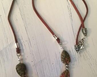 Unakite necklace, cord necklace, unakite bead, boho