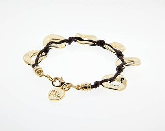 Italian Cotton Cord Bracelet With discs in Gold Finish. M-251-O