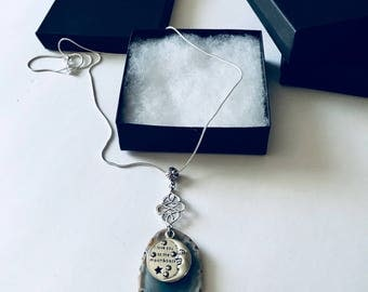 Silver Necklace, Moon Necklace, Handmade, Love You To The Moon and Back, Blue Agate, Matching Earrings, Moon and Stars, Celestial, Agate