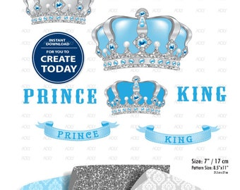 Blue Silver Clipart, Baby Blue grey peanut Crown, prince, king, royal clip art, png file. Nursery, Baby Shower ,birthday, download comm use