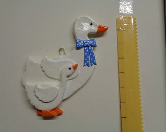 Decorative salt dough wall hanging tall goose with gosling 18cm tall
