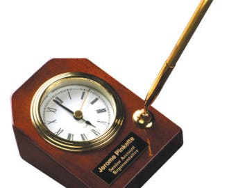 Rosewood Piano Finish Desk Clock with Pen, Employee Gift, Corporate, Business, Teacher, Desk Clock, Pen Holder, Home Decor, Clock