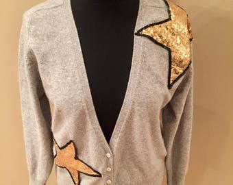 Cashmere upcyled cardign with sequined stars