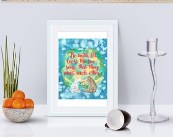 """Wedding Art Verse """"He hath let loose the two seas, so that they meet each other."""" bear   winter   art print wedding   poster   home decor"""