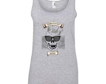 Ladies Zero Fucks Given Tank Laughing Skull, Skull, Skull T-Shirt, Skull Tee, Skull Print, Gothic, Skeleton