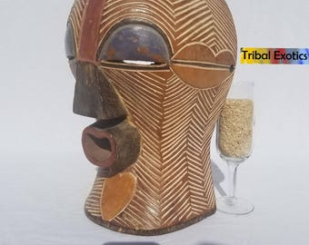 TRIBAL EXOTICS : PREMIUM Authentic fine tribal African Art - Songye Basongye Songe Basonge Kifwebe Wood Mask Figure Sculpture Statue