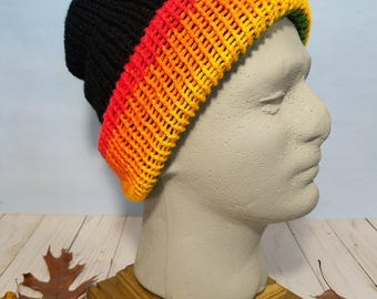 Reversible Knit Hat, Beanie and Slouchy- Rainbow / Black 005