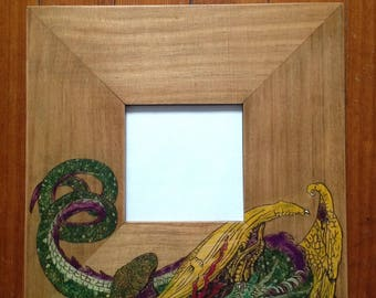 Hand Painted Dragon Mirror, Wood Burned Folk Art, No Problems