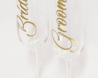 Bride and Groom Champagne flutes - wedding glasses - his and hers - bride and groom