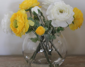 Flowers Ranunculus-Yellow and White, in a glass vase permanently set in artificial water