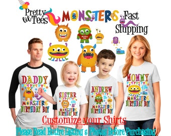 MONSTERS Birthday BOY Theme Family WHITE Shirts For the Entire Family Mom Dad Brother and More T-shirts Long/ Short sleeve Raglan Monsters